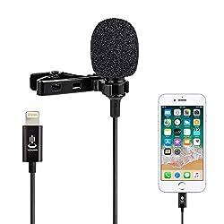 Lavalier Mikrofon für iPhone 7/7 plus/8/8 Plus, iPhone X/XS/XR,Omnidirectional Kondensator Freisprech Ansteck Revers Mikrofon Aufzeichnung Mic für YouTube Facebook