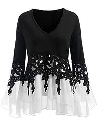 24251dbd264a Moginp Damen Langarmshirt,Große Größe Mode Frauen Shirts Casual Oberteile  Applique Flowy Chiffon Saum mit