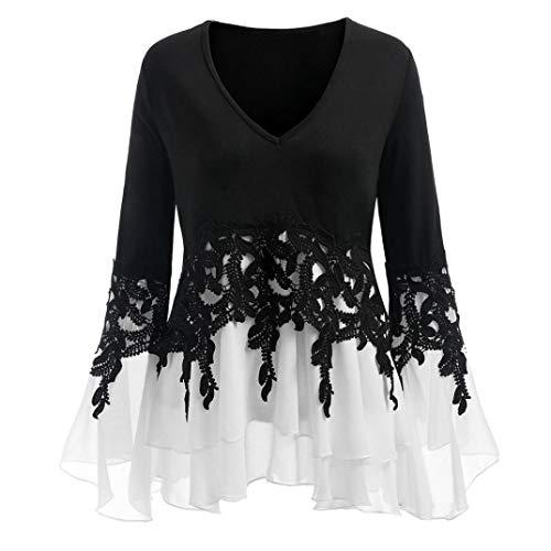 Damen Langarmshirt,Große Größe Mode Frauen Shirts Casual Oberteile Applique Flowy Chiffon Saum Mit Hollow Stickerei Blume V-Ausschnitt Langarm Bluse Tops Moginp (XL, Schwarz) -