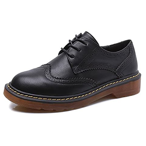Smilun Womens Brogues Classic Derby Shoes 3 Eyes Lace-Up Deby Flats Tassel Fringe Round Toe Oxford Shoes Black