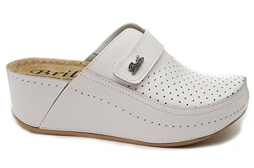 Dr Punto Rosso BRIL D130 Komfortschuhe Lederschuhe Pantolette Clog Damen, Weiß, EU 40