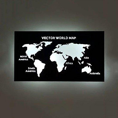 Cuadro de pared de mapa del mundo negro con luz