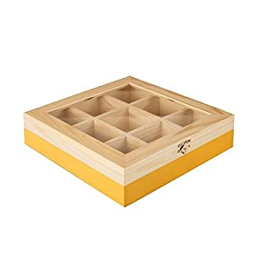 ibili 748560 Boîte à thé avec 9 Compartiments de pin Bois Brun/Orange 24 x 24 x 7 cm