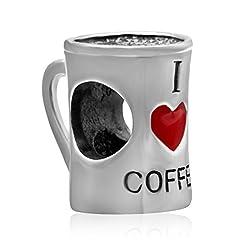 """Idea Regalo - Charm a forma di tazza, con scritta """"I Love Coffee"""" e cuore rosso, in vero argento sterling 925, per bracciali europei con charm"""