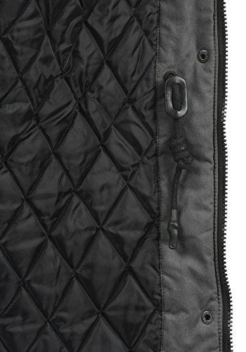 DESIRES Lotta Damen Parka lange Jacke Winter-Mantel mit Kapuze und Teddy-Futter aus hochwertiger Baumwollmischung Dark Grey (2890)