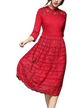 HJMTRY Temperamento de alta punta de siete puntos manga delgada vestido delgado , red , m