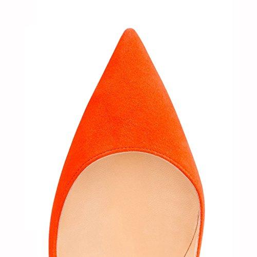 Eks Signore A Punta Tacco Alto Vestito Da Partito Pompe In Pelle Scamosciata Arancione
