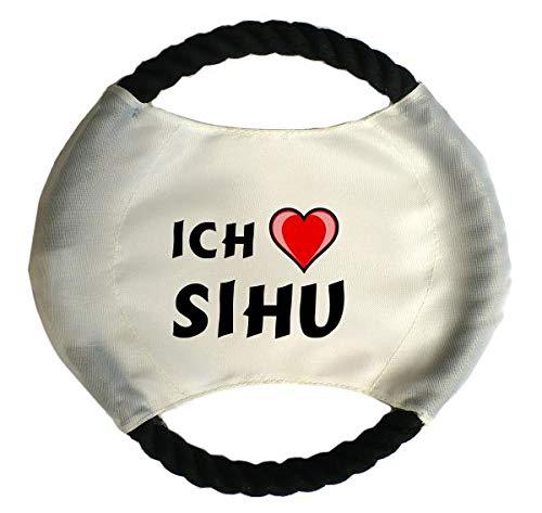 Personalisierter Hundefrisbee mit Aufschrift Ich liebe Sihu (Vorname/Zuname/Spitzname)