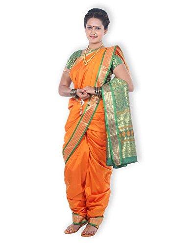 Mynauvari's Ready to Wear Stiched 9 Mtrs Kolhapuri Style Deep Gold Semi...
