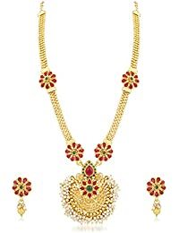 Palash Designer Gold Plated Long Necklace Set For Women