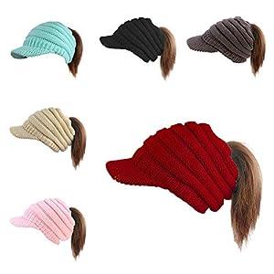 Balight Pferdeschwanz Mütze Hut Frauen Mädchen Warm Acryl Gestrickte Kurze Krempe Mützen oder für Herbst Winter – 6 Farben