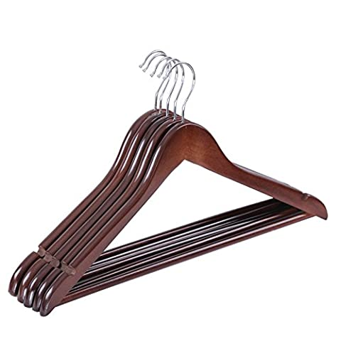Songmics 44.5 cm Set of 20 Classical Solid Wooden Clothes Hangers with Trouser Bar and 2 Grooves