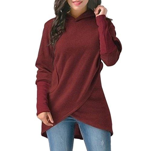 VEMOW Herbst Winter Neue Mode Damen Langarm mit Kapuze Asymmetrische Saum Wrap Casual Tägliche Outdoors Hoodie Sweatshirt Outwear Tops(Weinrot, EU-40/CN-M)