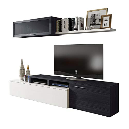 Habitdesign 016667G - Mueble de salón comedor moderno, medidas:  200x41/34x43 cm de alto (Blanco Brillo y Gris Ceniza)