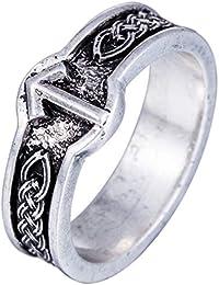 Lemvegeton Vintage Celtic Knot Norse - Anillo de Estilo victoriwaz con Banda anglosajón germánico para Hombres