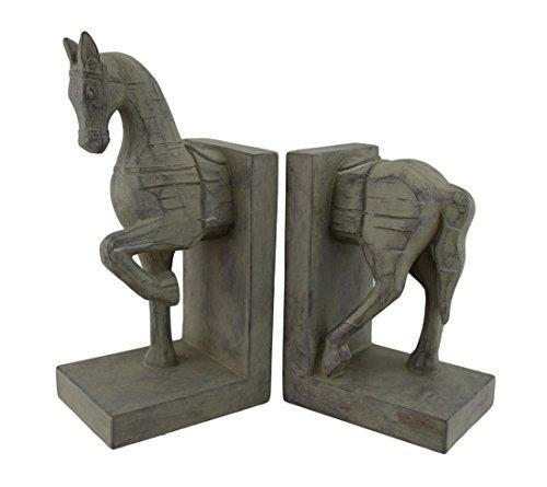 Finitura anticata effetto legno intagliato cavallo testa e coda fermalibri