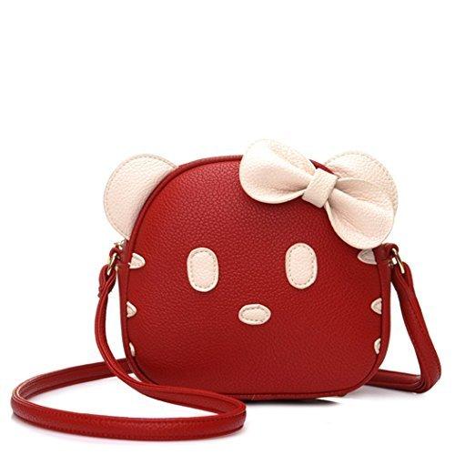 FAIRYSAN gatto sveglio Orecchio cuoio di disegno di spalla animale personalità Mini Messenger Cross Body Bag (Red) rosso
