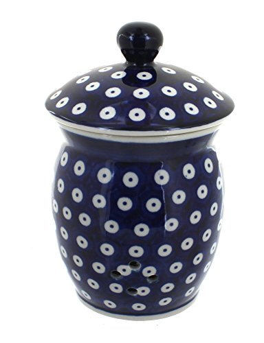 polish-pottery-dots-garlic-keeper-by-blue-rose-pottery