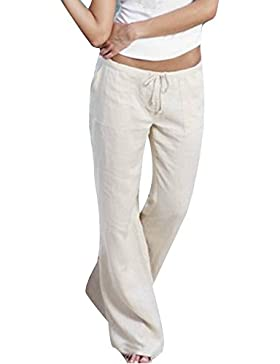 juqilu Mujer Pantalones Palazzo Elasticos Pantalones Bootcut Pantalones Casual Fitness Pantalón acampanados elegantes...