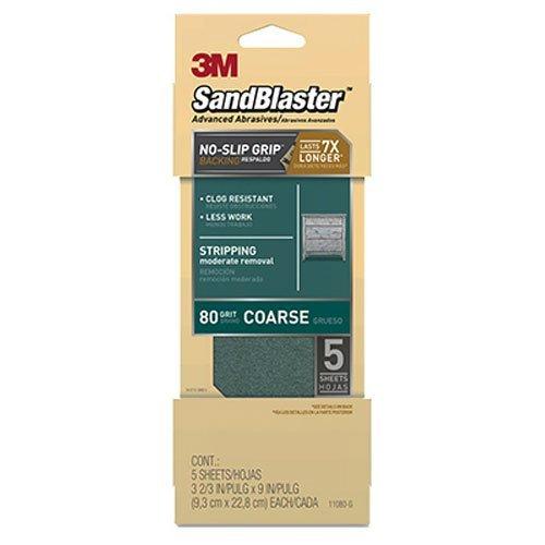 3 m 11120-g SandBlaster papier de verre avec dos prise antidérapante, Vert, grain 80, Lot de 5 pièces