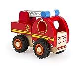 Small Foot 11075 Feuerwehrfahrzeug aus Holz, FSC 100%-Zertifiziert, mit beweglicher Feuerwehrleiter und Gummibereifung, fördert die Motorik Kleiner Auto-Fans ab 18 Monate Spielzeug, rot