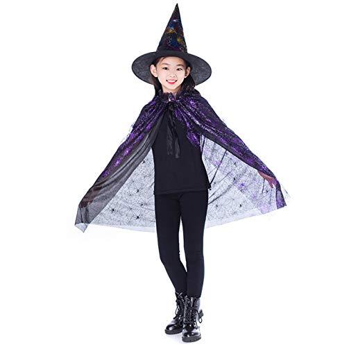 Prima05Sally New Gold Rot Lila Kinder Happy Halloween Magier Kostüm Set Wizard Hexe Mantel Cape Robe und Hut für Jungen Mädchen - Magier Roben Kostüm