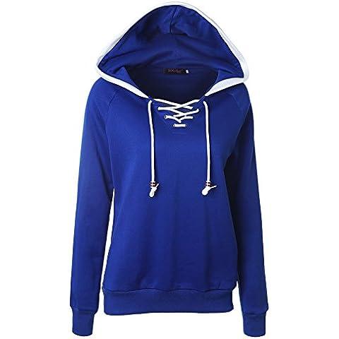 Felpa con Cappuccio Casual Sportiva Moda Pullover Manica Lunga Sweatshirt per Donna