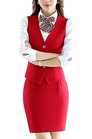 SK Studio Women's 3 Piece Business Uniform Vest Shirt Skir