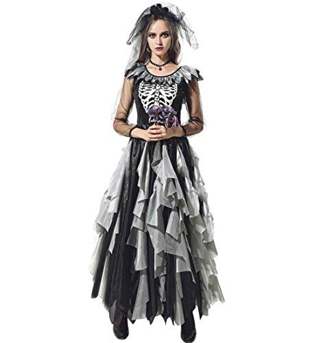 DuuoZy Frauen Zombie Ghost Braut Kostüm Halloween Fancy -