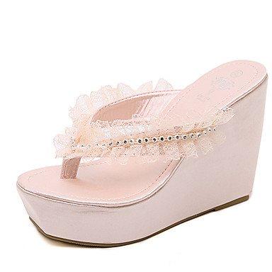 LQXZM Damen Hausschuhe &Amp; Flip-Flops Sommer Flower Girl Dress Keilabsatz Schuhe PU-Satin Blume Blushing Pink
