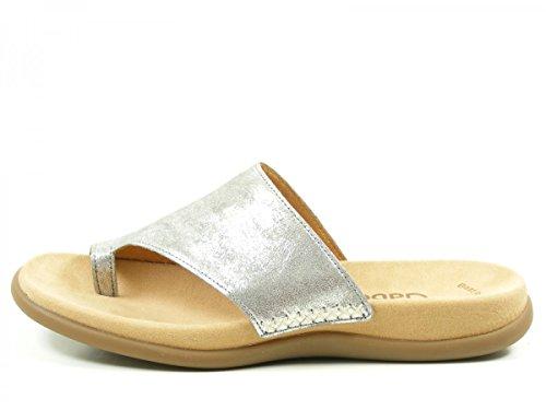 Gabor Jollys 63.700.60 Damen Pantolette bis 30mm Absatz Grau (Silber)