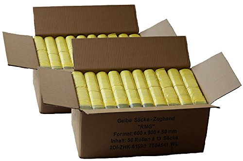 *Gelber Sack *Sparpack* (100 Rollen = 1300 Säcke) – 2 Kartons mit jeweils 50 Rollen á 650 Gelbe Säcke*