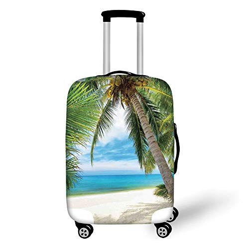 Travel Luggage Cover Suitcase Protector,Ocean Decor,Shadow Shade of a Coconut Palm Tree on White Sand,,for Travel (Shadow Sand Box)