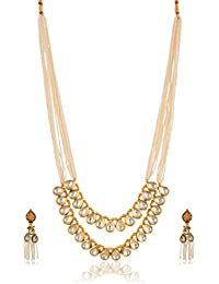 AakarShan Jewels Gold And White Gold Plated Multi-Strand Necklace Set For Women (AX2082)
