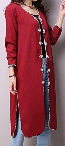 erdbeerloft - Damen Eleganter Mantel, Langjacke, S-2XL, Viele Farben Bordeaux
