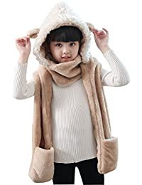 9f41f3f2880d2 Kids Toddler Cute 3 in 1 Hoodie Hat Winter Thermal Soft Fluffy Full Hood Hat  with