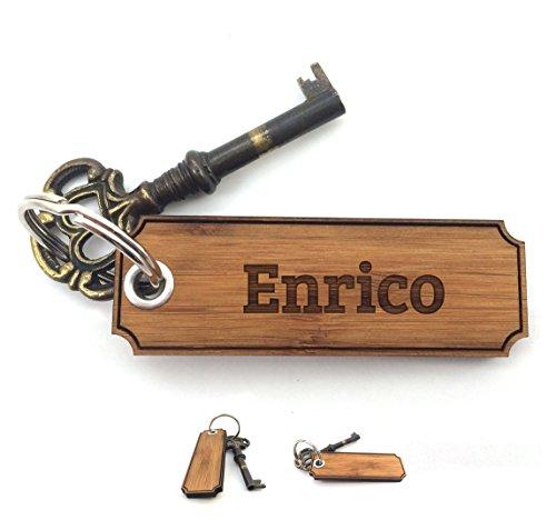 Mr. & Mrs. Panda Schlüsselanhänger Enrico Classic Gravur - 100% handgefertigt aus Bambus Holz - Anhänger, Geschenk, Vorname, Name, Initialien, Graviert, Gravur, Schlüsselbund, handmade, exklusiv - Enrico Bambus