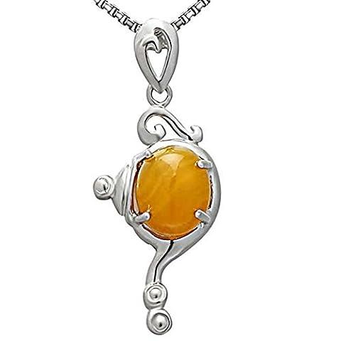 Epinki Women Girls 925 Sterling Silver Necklace Geometry Oval Cubic Zirconia Yellow