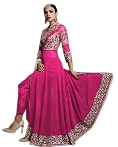 Shoppingover Indian Bollywood Party Wear Salwar Kameez in Georgette Fabric-Pink Color