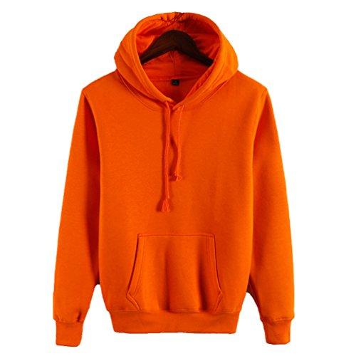 Yiiquan Unisex Étudiant Loisirs Hoodie Sweatshirt Pullover Tops Blouse à Manches Grande Taille Orange