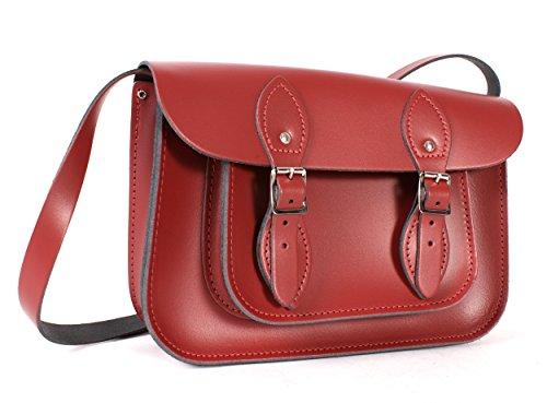 27,9 cm Rouge à fermeture magnétique en cuir véritable Petite Oxbridge sacoche – Rétro Sac de mode