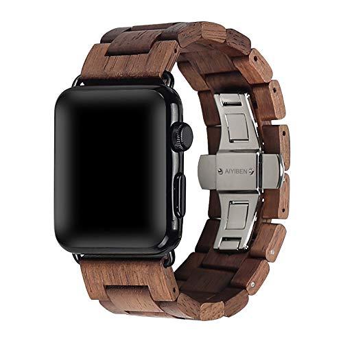 AIYIBEN 100% Umweltfreundlich Natürliche handgemachte Holz Armbanduhr Ersatzband Gurt Armband mit Adapter Doppel Faltschließe Buckle für iWatch Armbanduhr. (42/44mmWalnuss) -