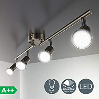B.K.Licht LED ceiling light rotatable I spotlight for kitchen, living room & bedroom I ceiling lamp I spots I warm white I metal I matte nickel design I 4 x 3 W I 230 V I GU10 I IP20 I Bulbs incl.
