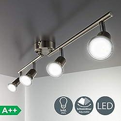 B.K. Licht plafonnier LED 4 spots orientables, 4X3W, GU10, IP20, spots plafond LED salon salle à manger chambre cuisine couloir, lumière blanche chaude