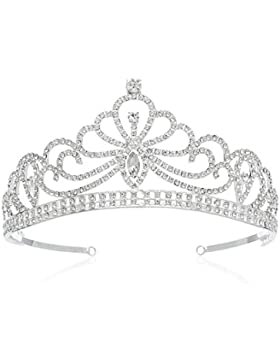 SWEETV Espumoso Real Cristalina Princesa Tiara Diadema Fiesta Prom Corona Accesorios para Mujeres