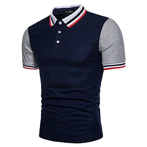 UUAISSO Herren Kragen Kurzarm Polo Casual Fashion Slim Fit T-Shirt Blau X-Large