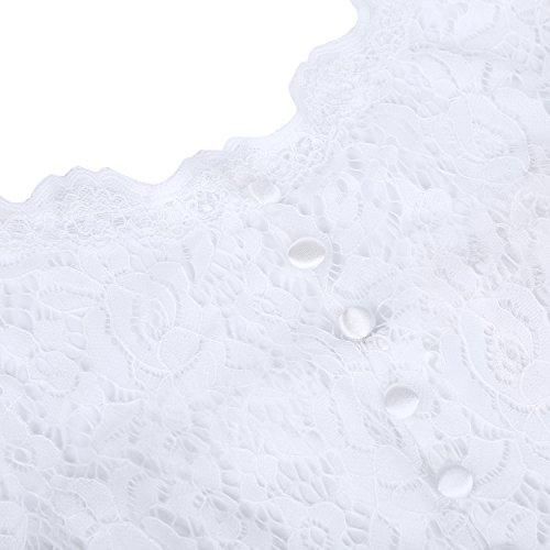 ihot Damen Kleid Brautjungfernkleid Knielang Spitzenkleid Flügelärmeln Cocktailkleid- Gr. XL, Weiß - 6