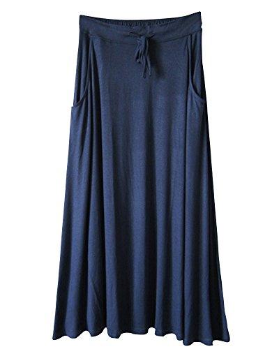 saideng-mujer-elastico-cordon-de-la-cintura-alta-dobladillo-grande-a-line-falda-azul