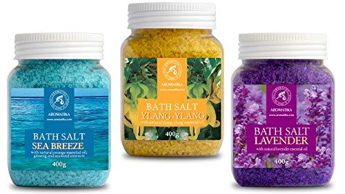 Badesalz Set mit 3x400g Badesalzen - Lavendel - Meeresbrise - Ylang-Ylang - Meersalz mit 100% Natürlichem Ätherischen Öl - Besten für Guten Schlaf - Stressabbau - Körperpflege - Entspannung - Spa