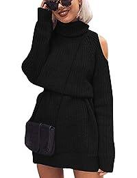 49053d6185db Maglione Vestito Collo Alto Donna Lungo Abito Maglioni Senza Spalline  Lunghi Pullover Abiti Maglieria Golfino Donna